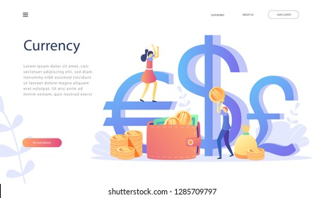 Funt Sterling, Euro, Dollar signs with happy people holding money in hands.Concept for landing page, template, ui,web, social media, mobile app, poster, banner. Currency, exchange rate, salary payment