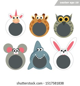 Funy cartoon happy animal face masks.Place for face and foto. Mobile app masks.Fotoframe. Simple stickers. Plush costume for carnival, birthday, party.