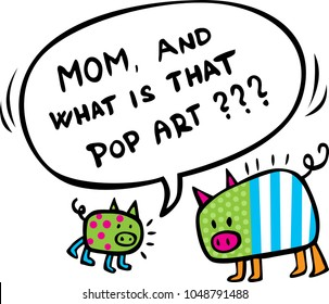 Funy Design with Two Pop Art Pigs - vector illustration