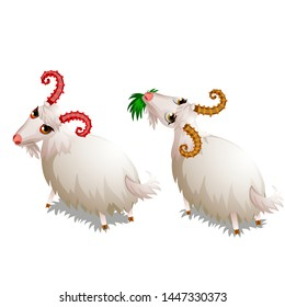 Fur animated horned goat eating grass isolated on white background. Vector cartoon close-up illustration.