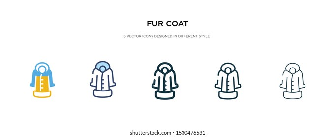 fur coat icon in different style vector illustration. two colored and black fur coat vector icons designed in filled, outline, line and stroke style can be used for web, mobile, ui