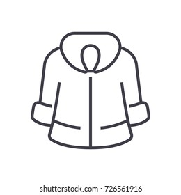 fur coat vector line icon, sign, illustration on background, editable strokes