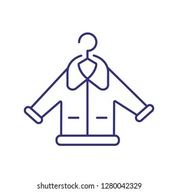Fur dry cleaning line icon. Overcoat, jacket, hanger. Laundry concept. Can be used for topics like garment care, warning, service