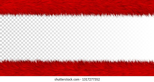 Fur realistic border elements for festive design isolated on transparent background - Vector