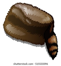 Fur winter hat with tail isolated on white background. Vector illustration.
