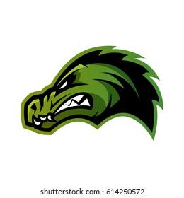 Furious alligator head sport vector logo concept isolated on white background. Professional team predator badge modern design. Premium quality wild animal t-shirt tee print illustration.