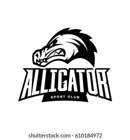 Furious alligator sport mono vector logo concept isolated on white background. Professional team predator badge modern design. Premium quality wild animal t-shirt tee print illustration.