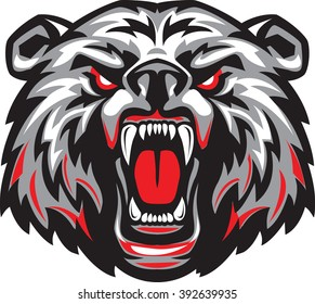Furious angry face of terrible bear with open mouth and terrible teeth as symbol of strength and aggressiveness.