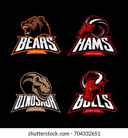 Furious bear, ram, dinosaur and bull sport vector logo concept set isolated on black. Street wear mascot team badge design. Premium quality wild animal emblem t-shirt tee print illustration.