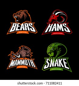 Furious bear, ram, snake and mammoth sport vector logo concept set isolated on black. Street wear mascot team badge design. Premium quality wild animal emblem t-shirt tee print illustration.