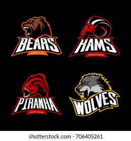 Furious bear, wolf, ram and piranha sport vector logo concept set isolated on black background. Street wear mascot team badge design. Premium quality wild animal emblem t-shirt tee print illustration.