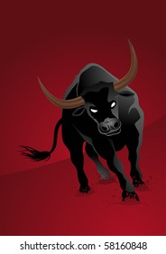 furious black bull on red background