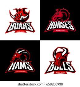 Furious boar, horse, ram, bull head isolated vector sport logo concept set. Modern badge mascot design. Premium quality wild animal t-shirt tee print character illustration. Street racing team emblem.