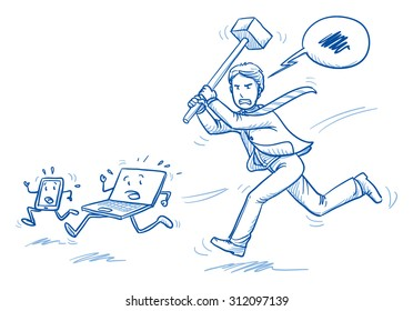Furious business man chasing computer and smart phone with a hammer, concept of stress, burnout, headache, depression, hand drawn doodle vector illustration