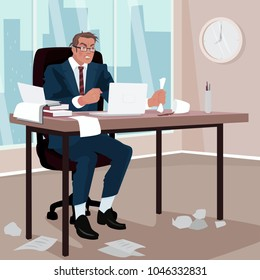 Furious businessman sitting in office. Around mess. Disgruntled man in business suit in workplace. Trouble or Problem concept. Simplistic realistic cartoon style. Vector illustration