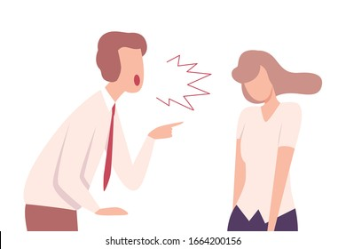 Furious Businessman Yelling to Stressful Young Woman Flat Vector Illustration