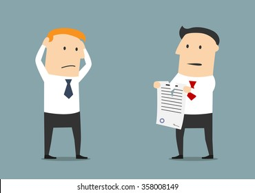 Furious cartoon businessman tearing up a contract in front of dumbfounded manager. Termination of contract or business partnership concept usage