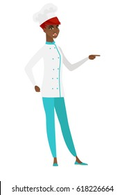 Furious chef cook screaming and pointing her finger to the right. Full length of aggressive chef cook screaming and shaking her finger. Vector flat design illustration isolated on white background.
