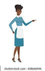 Furious cleaner screaming and pointing her finger to the right. Full length of young cleaner cleaner screaming and shaking her finger. Vector flat design illustration isolated on white background.