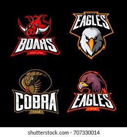 Furious cobra, eagle and boar sport vector logo concept set isolated on black background. Street wear mascot team badge design. Premium quality wild animal emblem t-shirt tee print illustration.