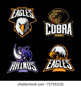 Furious cobra, eagle, rhino vector logo concept set isolated on black background. Street wear mascot sport team badge design. Premium quality wild animal emblem t-shirt tee print illustration.