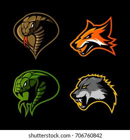 Furious cobra, fox, snake and wolf sport vector logo concept set isolated on black background. Street wear mascot team badge design. Premium quality wild animal emblem t-shirt tee print illustration.