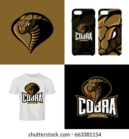 Furious cobra head sport club isolated vector logo concept. Modern professional team badge mascot design. Premium quality wild animal t-shirt tee print illustration. Smart phone case accessory emblem.