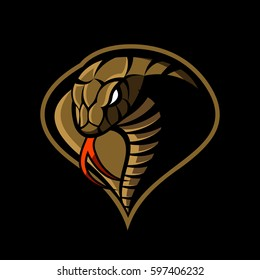 Furious cobra head sport vector logo concept isolated on dark background. Modern military professional team badge design. Premium quality wild snake t-shirt tee print illustration.