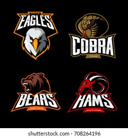 Furious cobra, ram, eagle and bear sport vector logo concept set isolated on black background. Street wear mascot team badge design. Premium quality wild animal emblem t-shirt tee print illustration.