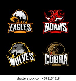 Furious cobra, wolf, eagle and boar sport vector logo concept set isolated on dark background. Team emblem design. Premium quality wild animal, bird and snake t-shirt tee print illustration.
