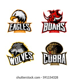 Furious cobra, wolf, eagle and boar sport vector logo concept set isolated on white background. Team emblem design. Premium quality wild animal, bird and snake t-shirt tee print illustration.