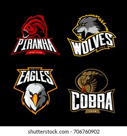 Furious cobra, wolf, eagle and piranha sport vector logo concept set isolated on black. Street wear mascot team badge design. Premium quality wild animal emblem t-shirt tee print illustration.