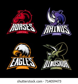 Furious dinosaur, horse, rhino, eagle vector logo concept set isolated on black. Street wear mascot sport team badge design. Premium quality wild animal emblem t-shirt tee print illustration.
