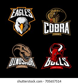 Furious eagle, cobra, dinosaur and bull sport vector logo concept set isolated on black. Street wear mascot team badge design. Premium quality wild animal emblem t-shirt tee print illustration.
