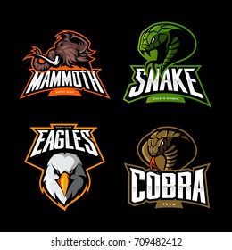 Furious eagle, cobra, snake and mammoth sport vector logo concept set isolated on black. Street wear mascot team badge design. Premium quality wild animal emblem t-shirt tee print illustration.