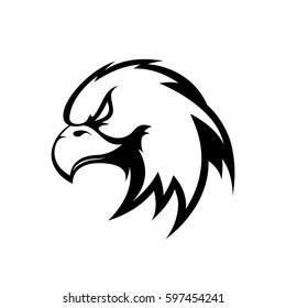 Furious eagle head mono sport vector logo concept isolated on dark background. Modern professional team badge design. Premium quality wild bird t-shirt tee print illustration.