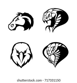 Furious eagle, horse, snake, cobra vector logo concept set isolated on white background. Street wear mascot sport team badge design. Premium quality wild animal emblem t-shirt tee print illustration.
