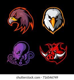 Furious eagle, octopus, boar vector logo concept set isolated on black background. Street wear mascot sport team badge design. Premium quality wild animal emblem t-shirt tee print illustration.