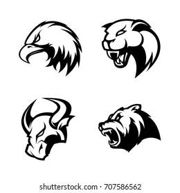 Furious eagle, panther, bull and bear sport vector logo concept set isolated on white. Street wear mascot team badge design. Premium quality wild animal emblem t-shirt tee print illustration.