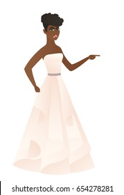 Furious fiancee screaming and pointing her finger to the right. Full length of fiancee in white dress screaming and shaking her finger. Vector flat design illustration isolated on white background.