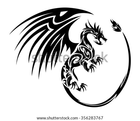 Furious Flying Dragon Tattoo Symbol Wing Stock Vector Royalty Free