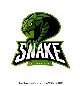 Furious green snake sport vector logo concept isolated on white background. Modern professional team badge design. Premium quality wild animal t-shirt tee print illustration.