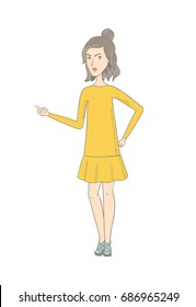 Furious hippie woman screaming and pointing her finger to the right. Full length of young woman screaming and shaking her finger. Vector sketch cartoon illustration isolated on white background.