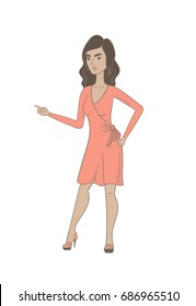 Furious hispanic woman screaming and pointing her finger to the right. Full length of young woman screaming and shaking her finger. Vector sketch cartoon illustration isolated on white background.