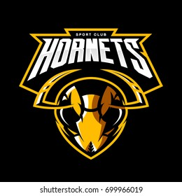 Furious hornet head athletic club vector logo concept isolated on black background. Modern sport team mascot badge design. Premium quality wild insect emblem t-shirt tee print illustration.
