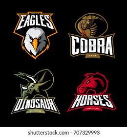Furious horse, cobra, eagle and dinosaur sport vector logo concept set isolated on black. Street wear mascot team badge design. Premium quality wild animal emblem t-shirt tee print illustration.
