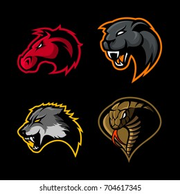 Furious horse, panther, wolf and cobra sport vector logo concept set isolated on black. Street wear mascot team badge design. Premium quality wild animal emblem t-shirt tee print illustration.
