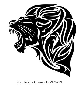furious lion black and white vector outline - tribal design