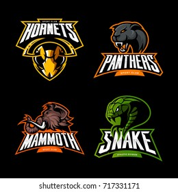 Furious mammoth, snake, hornet, panther vector logo concept set isolated on black. Street wear mascot sport team badge design. Premium quality wild animal emblem t-shirt tee print illustration.