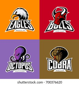 Furious octopus, eagle, cobra, bull head isolated vector sport logo concept set. Badge mascot design. Premium quality wild animal t-shirt tee print character illustration. Street racing team emblem.